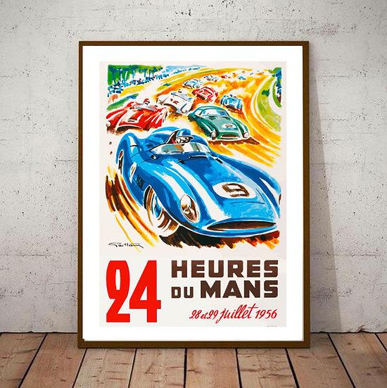 Art Deco Poster Le Mans 24hrs 1956 Racing