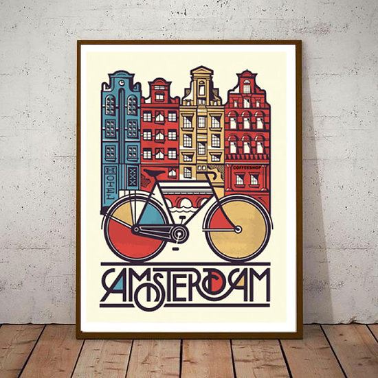 Art Deco Amsterdam Coffee House and Cycles   Travel Poster
