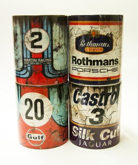 4 pack Martini, Rothmans, Gulf Porsche, Silk Cut Oil, Mud and Racing 11oz Mug