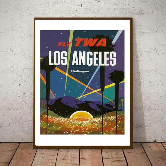Art Deco Los Angeles Fly TWA Travel Poster