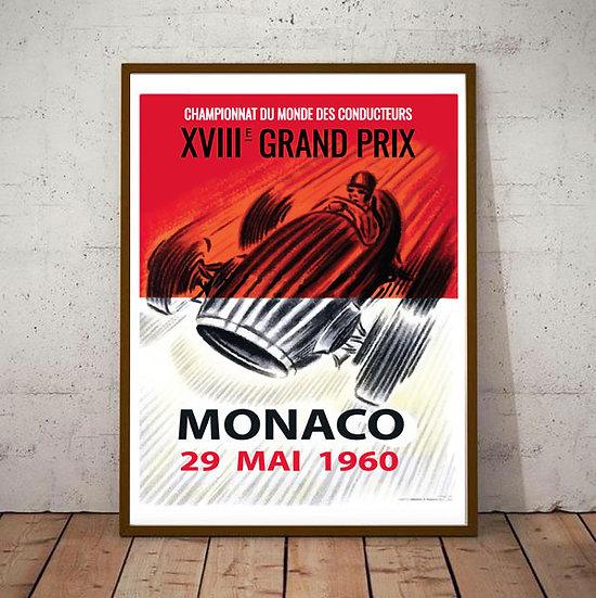 Art Deco Monaco 1960 29 May Grand Prix Poster
