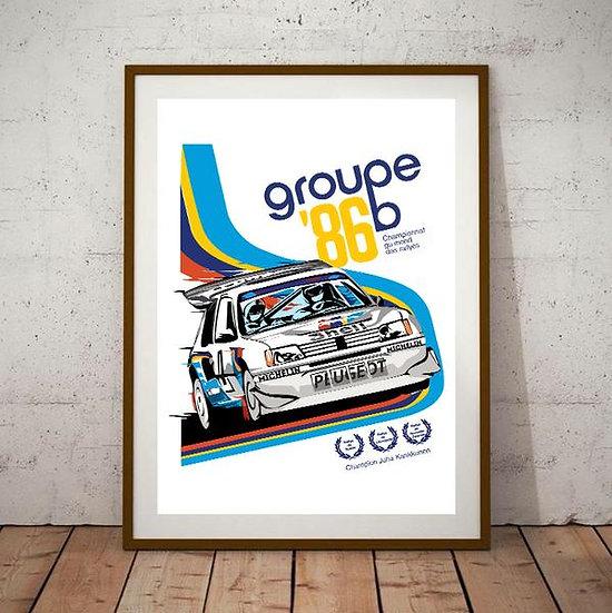 Art Deco Peugeot Rallye T16 1986 Groupe B Poster
