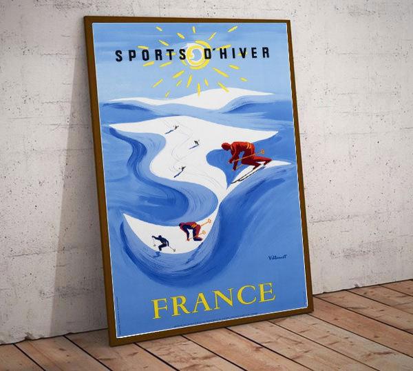 Art Deco Sports D'Hiver France Ski Poster