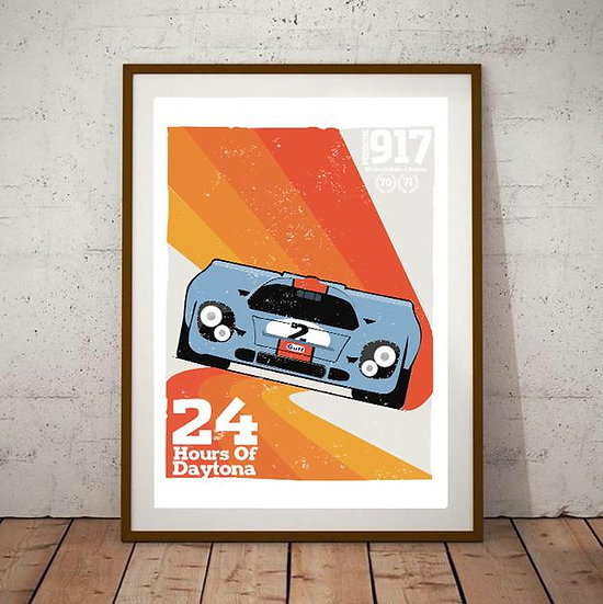 Art Deco 24 Hours of Daytona Porsche 917 Poster