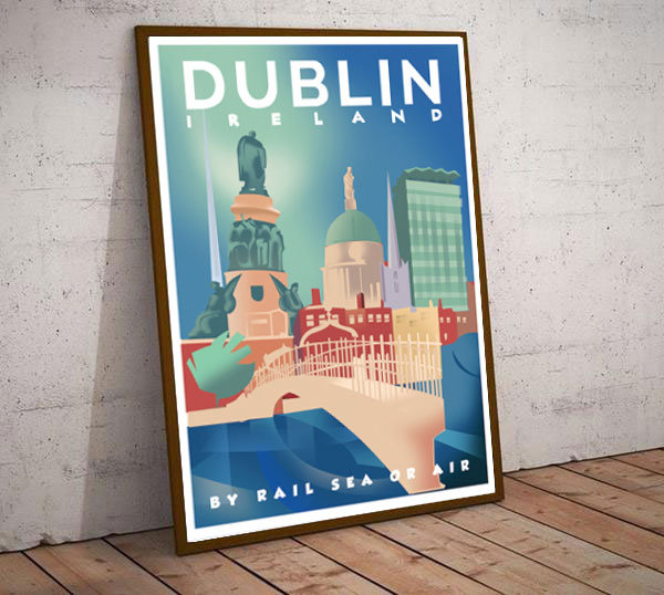 Art Deco Dublin Ireland by Rail Sea or Air  Travel Poster