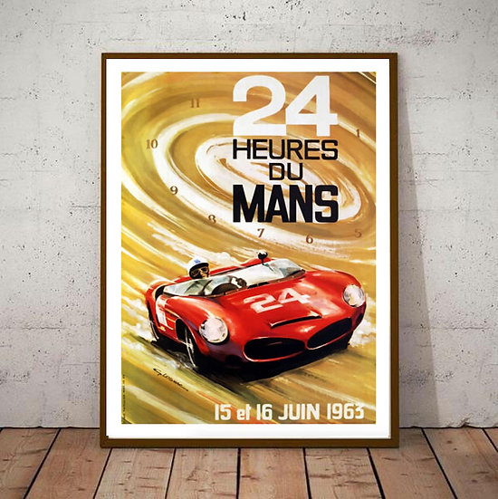 Art Deco Poster Le Mans 24hrs 1963 Racing