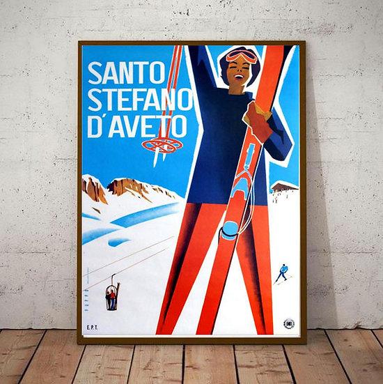 Art Deco Winter Sports Italy Santo Stefano D'Aveto Sicily Ski Poster
