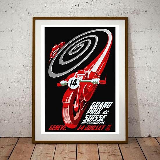 Art Deco Grand Prix de Suisse Geneve 1946 Poster