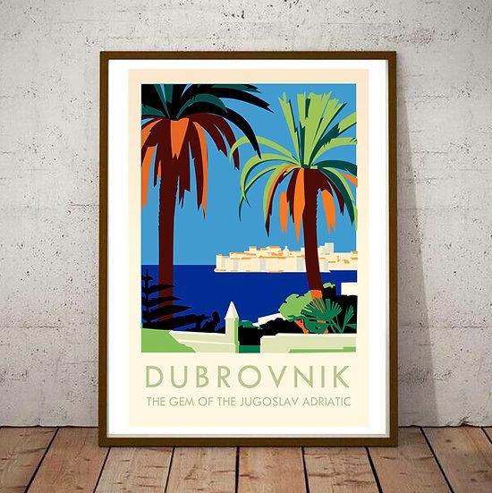 Art Deco Dubrovnik Tourism Poster