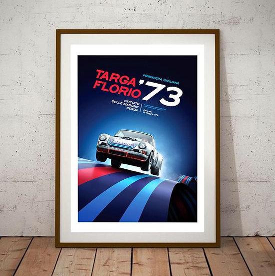 Art Deco Targa Florio Porsche 1973 Poster