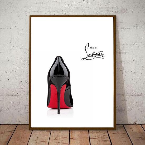 Inspiration Motivational Art - ' Christian Louboutin Red Heels' Black &am