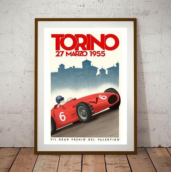 Art Deco Torino 1955 Grand Prix Poster