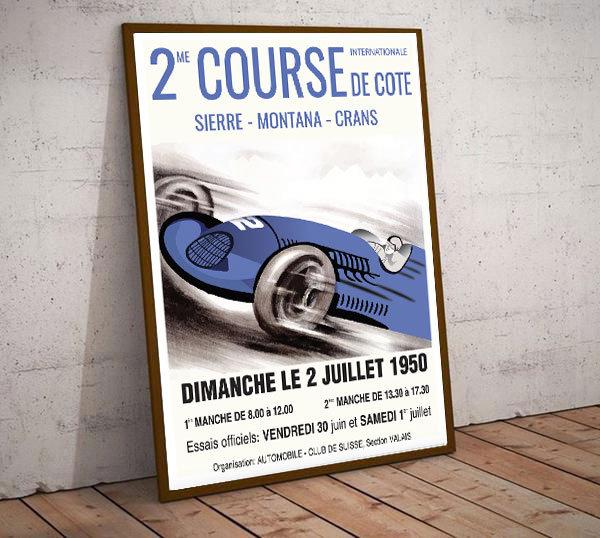 Art Deco Dimanche 1950 2 Course De Cote France Poster