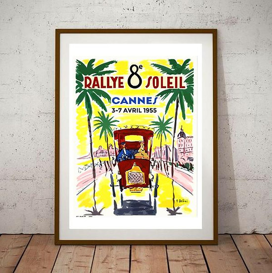 Art Deco Rallye 8 Soleil 1955 Cannes Poster