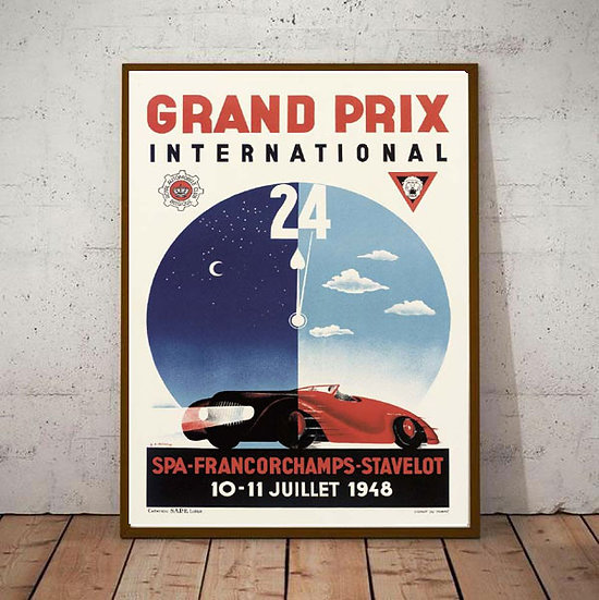 Art Deco Spa Francorchamps Stavelot 1948 Poster