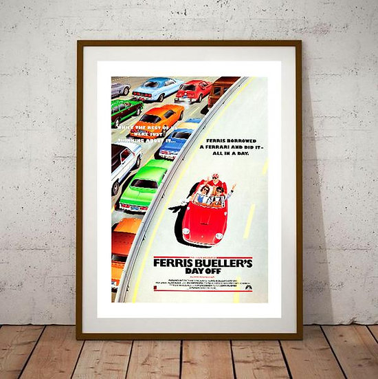 Ferris Buellers Day Off Movie Poster with Ferrari 250GT California