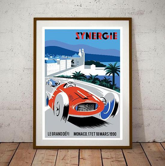 Art Deco Monaco Synergie 1990 Grand Prix Poster