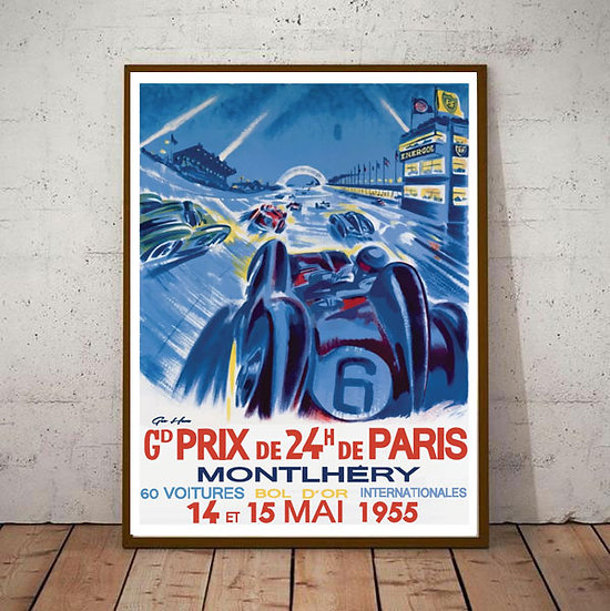 Art Deco Montlhery 24 Hours of Paris Grand Prix Poster