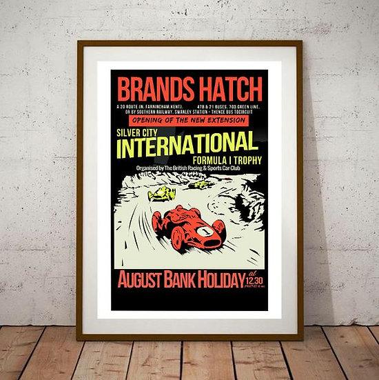 Art Deco Brands Hatch Silver City International Formula 1 Trophy Racing Poster