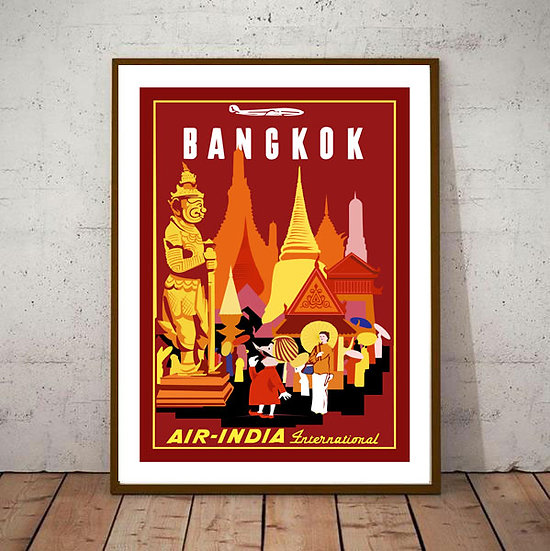 Art Deco Bangkok Thailand Air India International Travel Poster