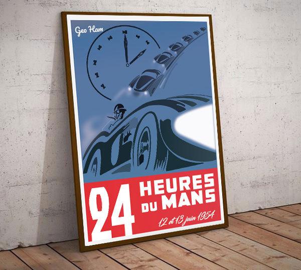 Art Deco 24hrs Le Mans 1954  Poster