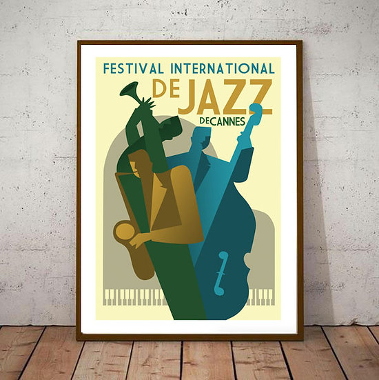 Art Deco Jazz Festival Cannes France Travel Poster