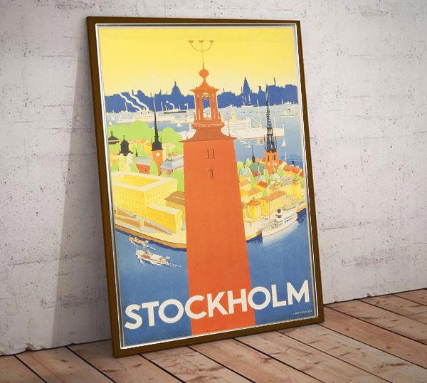 Art Deco Stockholm Sweden Travel Poster