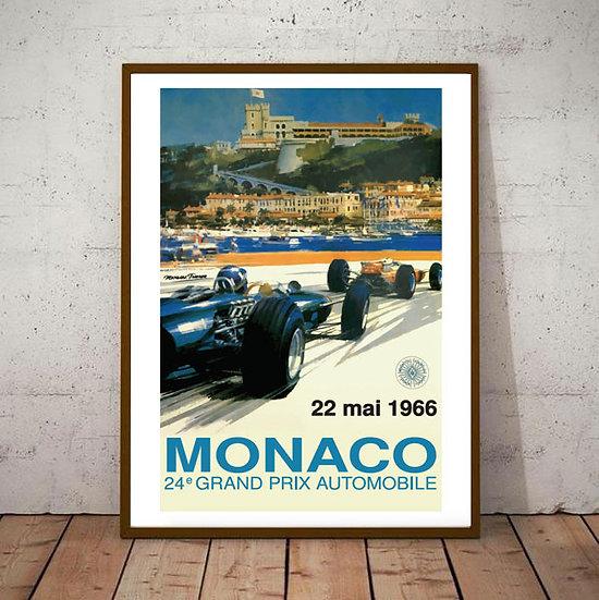 Art Deco Monaco 1966 Grand Prix Poster