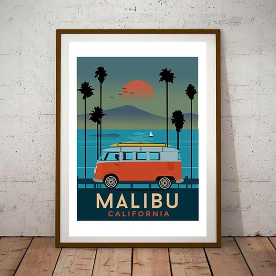 Art Deco VW Transporter Malibu California Poster