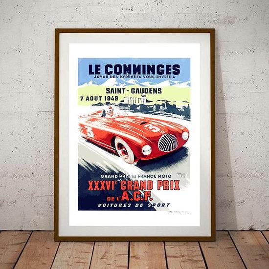 Art Deco Les Comminges Grand Prix A.C.F 1945  Poster