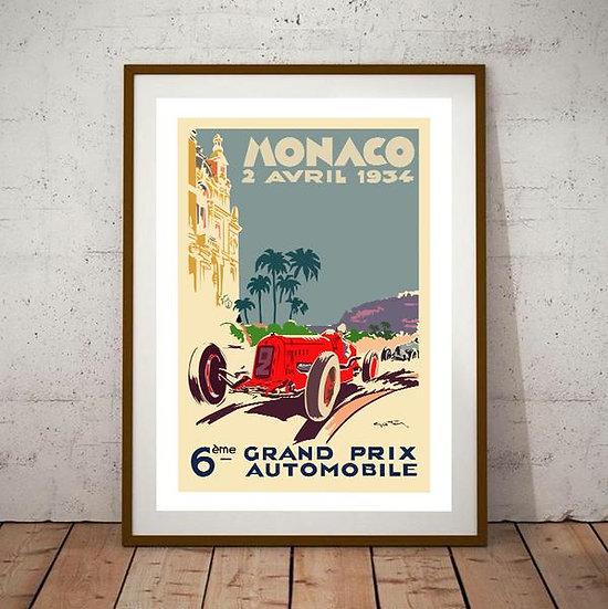 Art Deco Monaco 1934 Grand Prix Poster