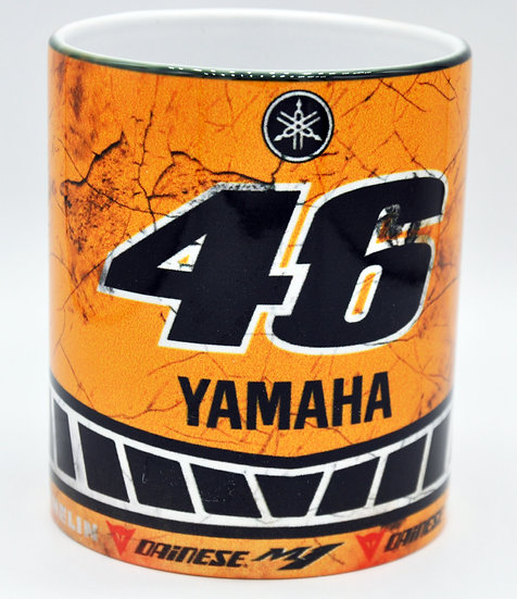 Valentino Rossi 46 Yamaha Motorcycle Oil, Mud and Racing 11oz Mug