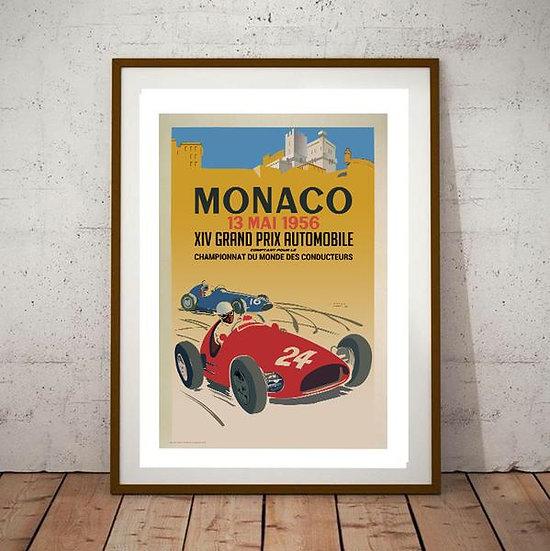 Art Deco Monaco 1956 Grand Prix Poster