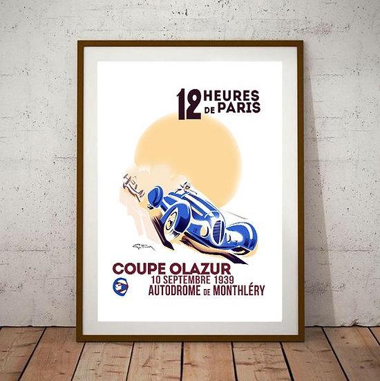Art Deco 12 Heures De Paris Coupe Olazur Grand Prix Poster