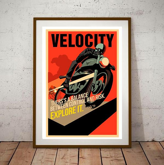 Art Deco Velocity Explore It Motorcycle Poster
