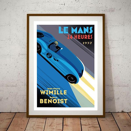Art Deco Le Mans 1937 Wimille / Benoist 24 Heures Du Mans Poster