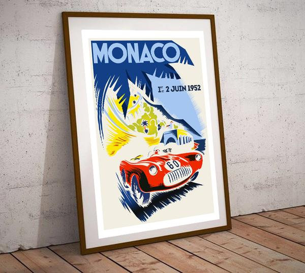 Art Deco Monaco 1952 Grand Prix Poster
