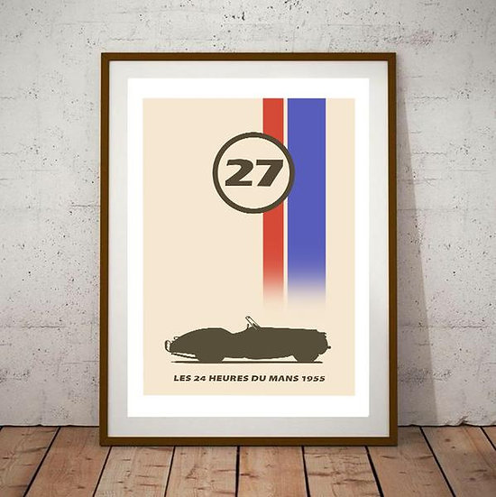 Art Deco Le Mans 24 Heures Racing Jaguar XK120 1955 Poster