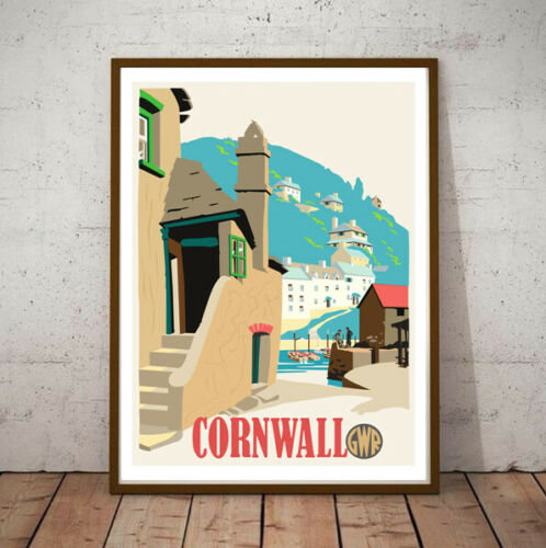 Art Deco Cornwall GWR Travel & Locomotive Poster