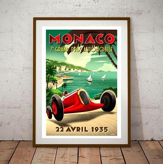 Art Deco Monaco Grand Prix 1935 Poster
