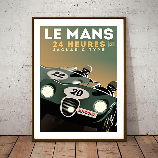 Art Deco 24hrs Le Mans 1951 Jaguar C type Poster