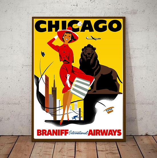 Art Deco Chicago USA Braniff Airways Travel Poster