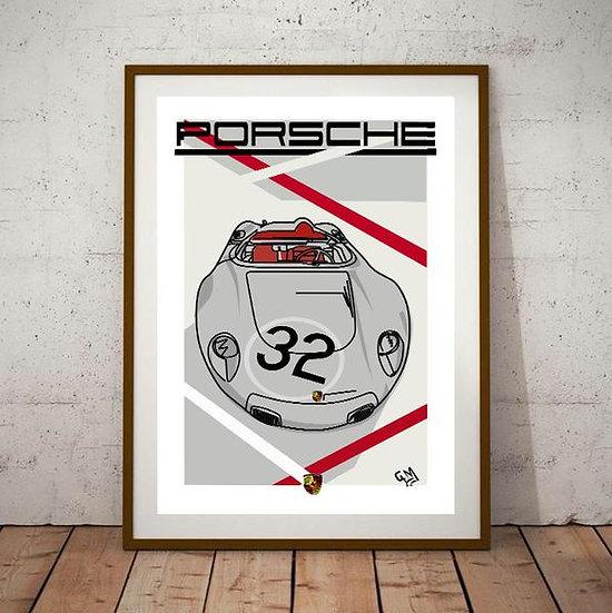 Art Deco Porsche Racer Spyder no32 Poster