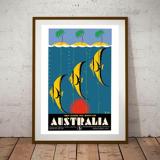 Art Deco Australia The Great Barrier Reef Poster