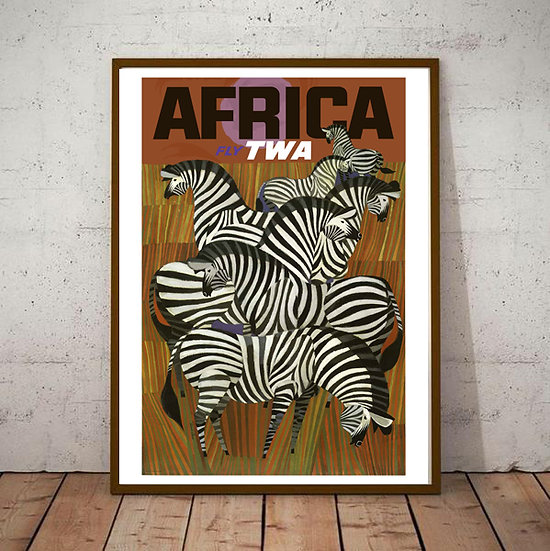 Art Deco Africa Fly TWA Tourism Poster