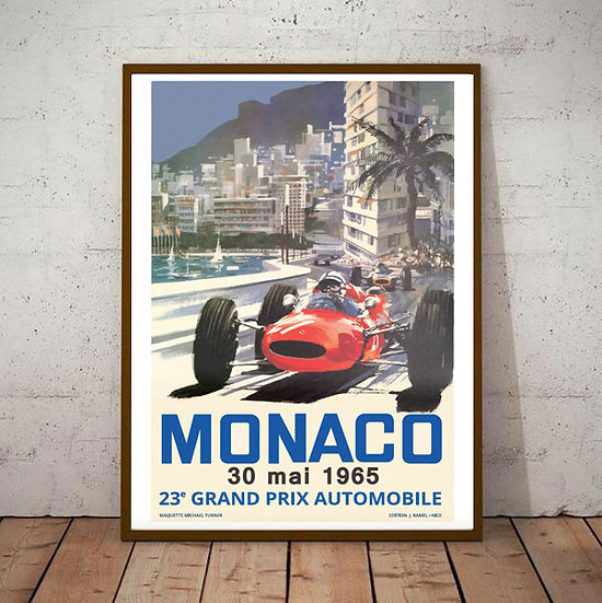 Art Deco Monaco 1965 Grand Prix Poster