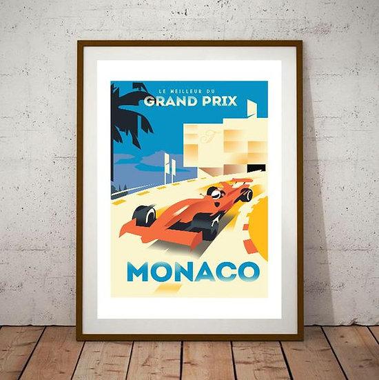 Art Deco Monaco Grand Prix F1 Poster