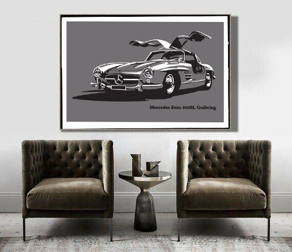 Art Deco Poster Mercedes Gullwing 300SL