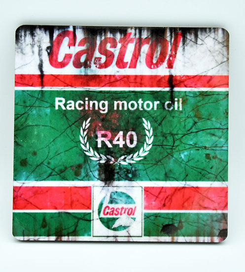 Castrol R40 Racing, Oil, Mud and Racing Coaster - Cork Backed