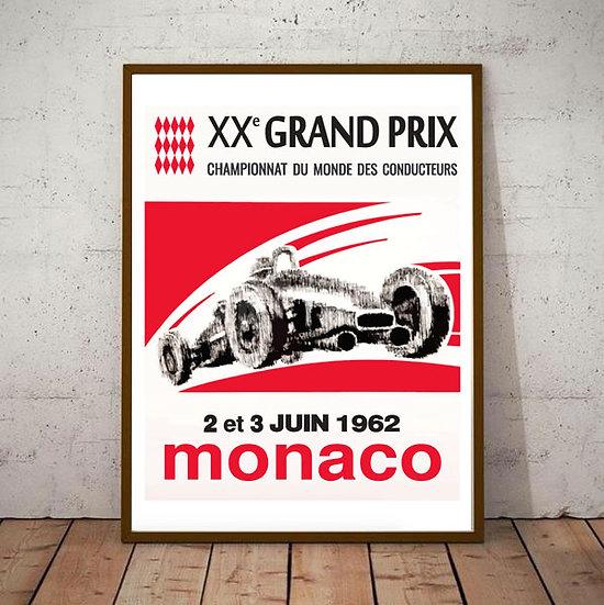 Art Deco Monaco 1962 Grand Prix Poster